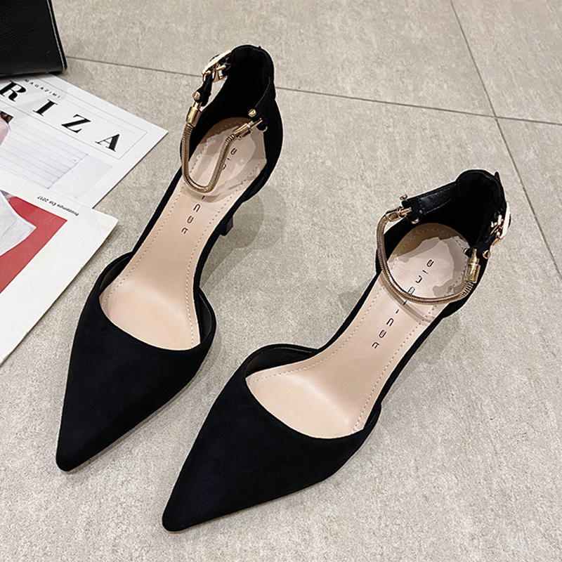 Black single shoes womens spring and summer 2021 new 8cm high heel pointed suede simple fashion button temperament