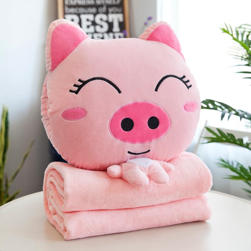可爱 新款汽车靠枕抱枕被子两用靠垫午休空调毯子办公室个性创意10月21日最新优惠