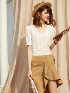 秘密盒子 每新款氣質純色百搭V領鏤空針織短款上衣T恤女