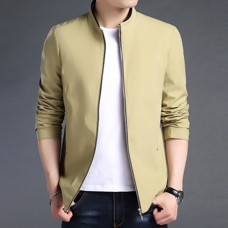 Woodpecker 2021 autumn new middle-aged and young mens jacket stand collar thin literary and artistic young versatile jacket trend