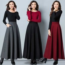 Autumn and winter pure wool skirt with large A-line skirt, high waist, medium length, large women's long skirt, large skirt