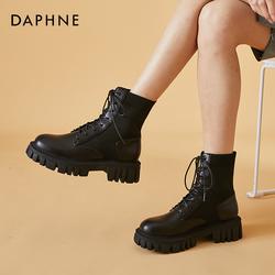 达芙妮厚底马丁靴女英伦风2021年新款黑色短靴女春秋单靴飞织袜靴