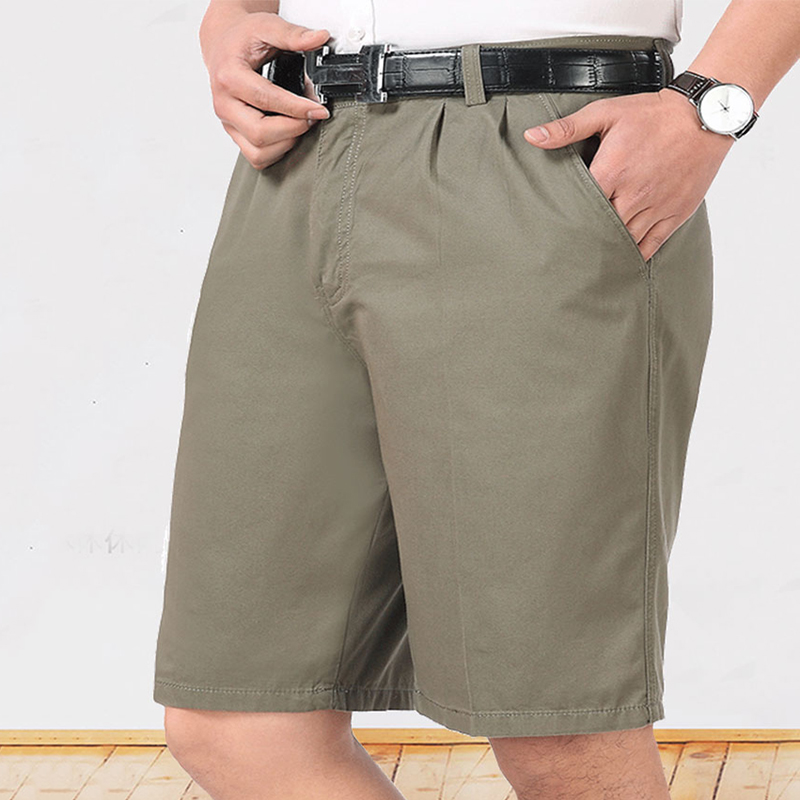 Mens loose and casual straight pants for work, middle pants, suit pants, quarter pants, light cotton shorts, fat man comfort