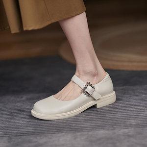 2021年秋季百搭英伦风真皮小皮鞋女夏季平跟日系jk单鞋女玛丽珍鞋