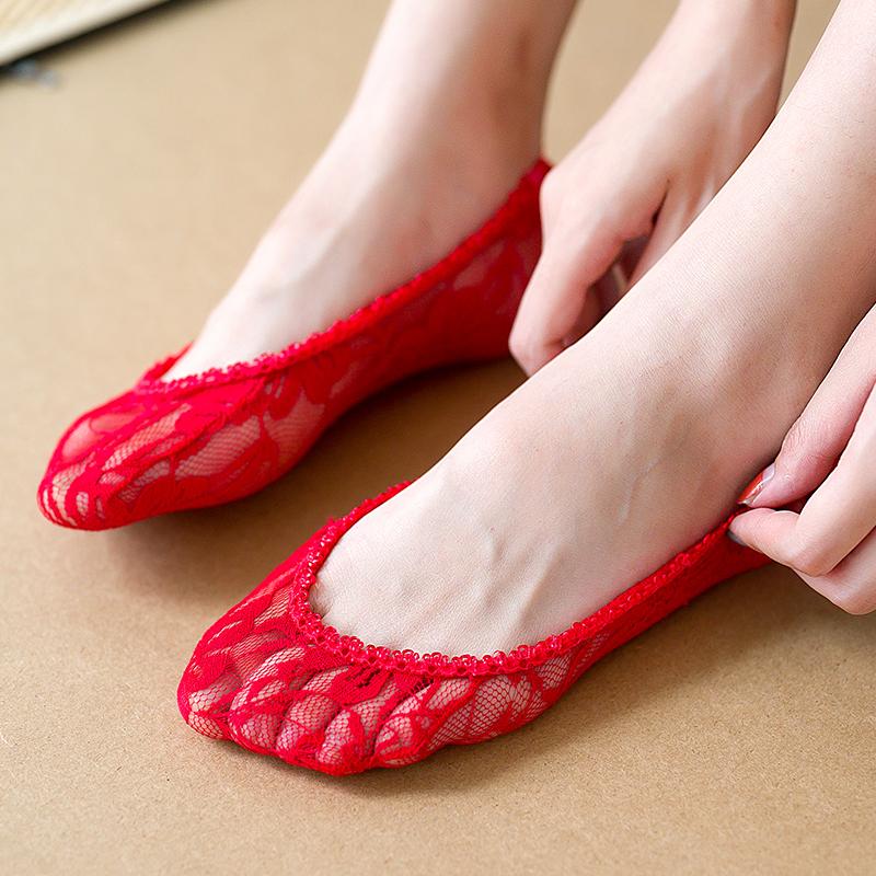 大红色新娘袜子女本命年夏季薄款蕾丝短袜船袜结婚喜庆浅口隐形袜
