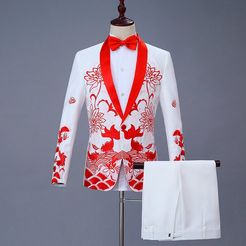 High grade Chinese mens dress has fish embroidery Chinese style suit every year