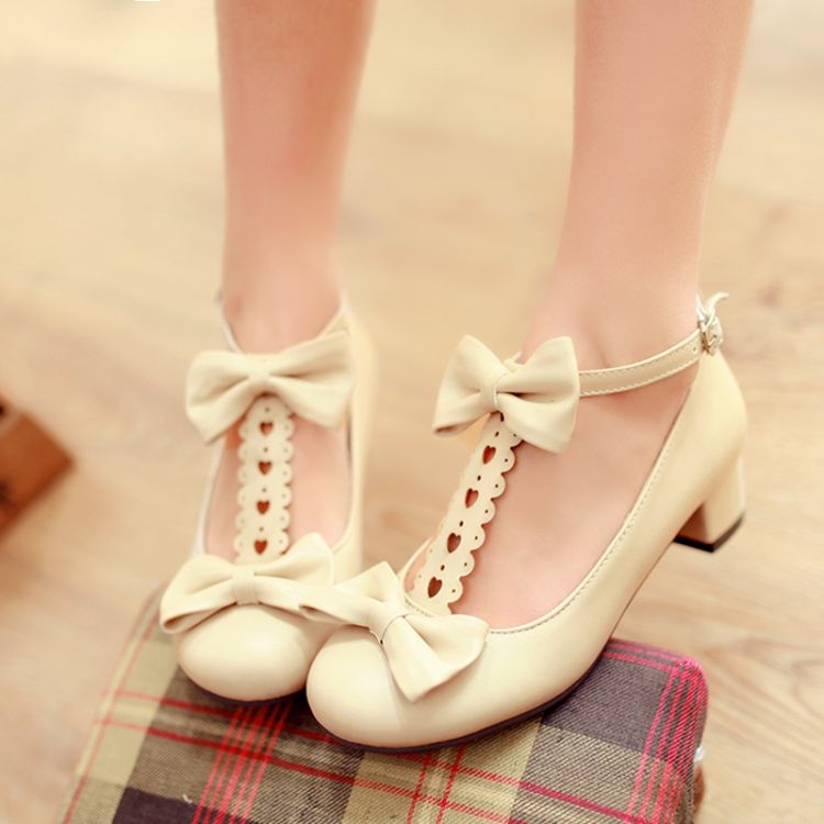 Lolita shoes size Cosplay Princess Lolita thick heel sweet girl bow Japanese