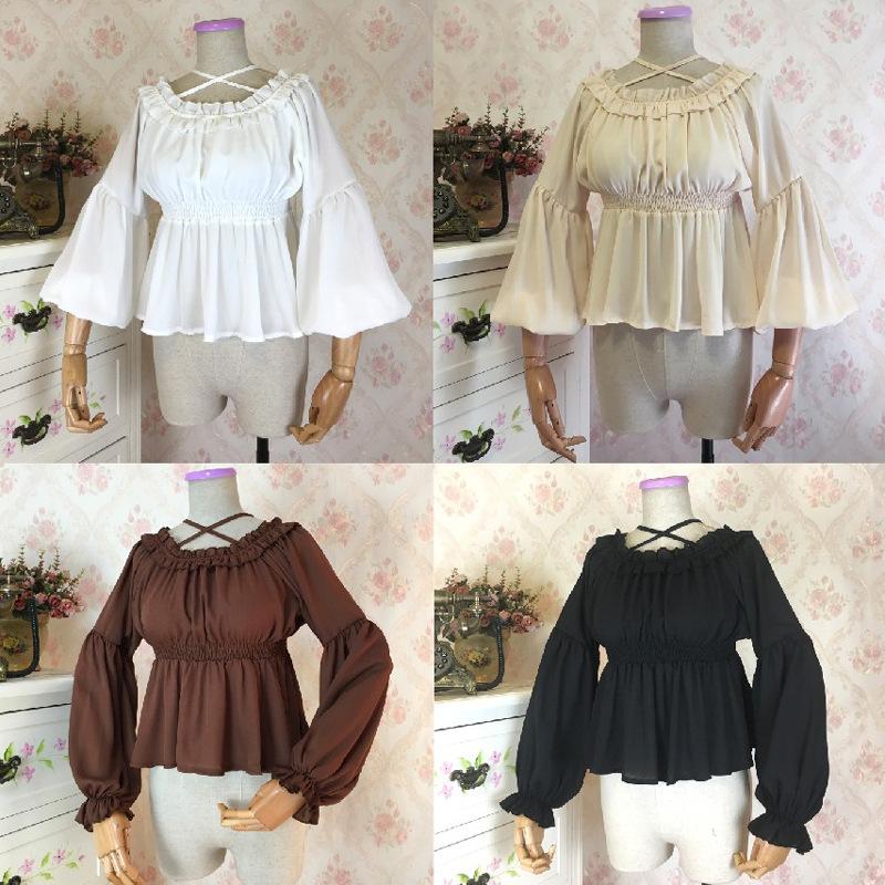 伪娘用品lolita洋装软妹一字领荷叶边雪纺内搭高腰娃娃衣长袖衬衫