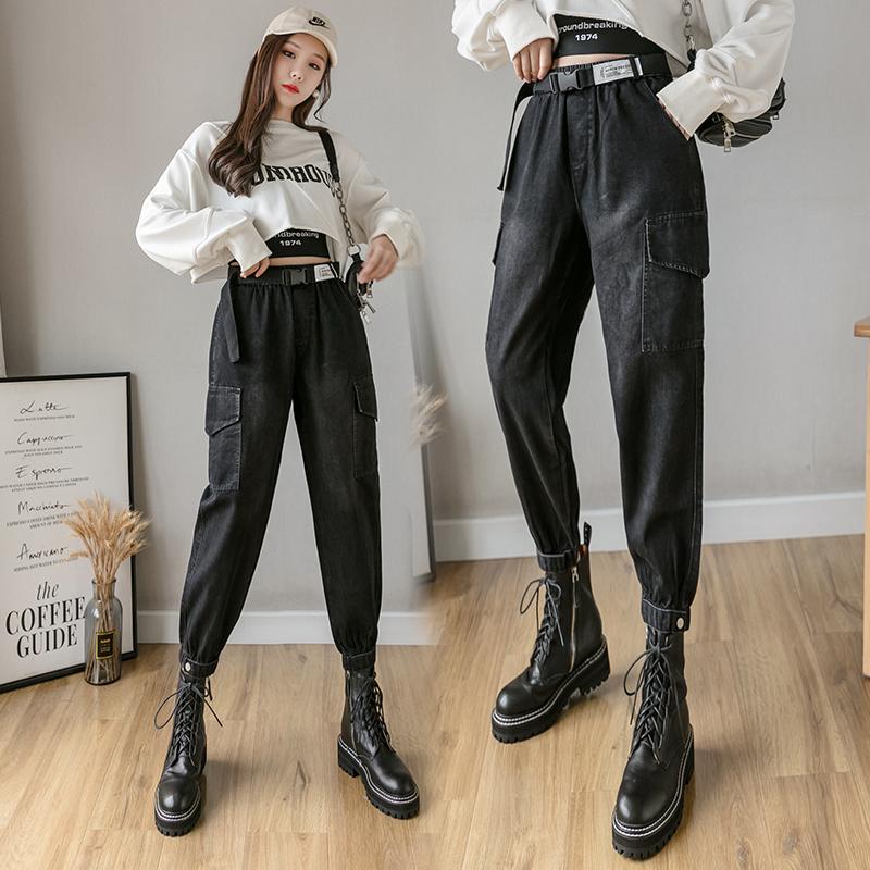 新款牛仔束脚休闲秋季运动九分工装裤女显瘦ins潮高腰2020哈伦