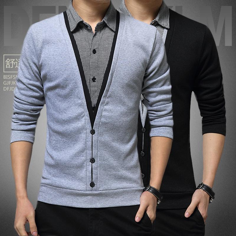 秋冬季男装长袖t恤男衬衫领假两件上衣男韩版修身打底衫加绒秋衣