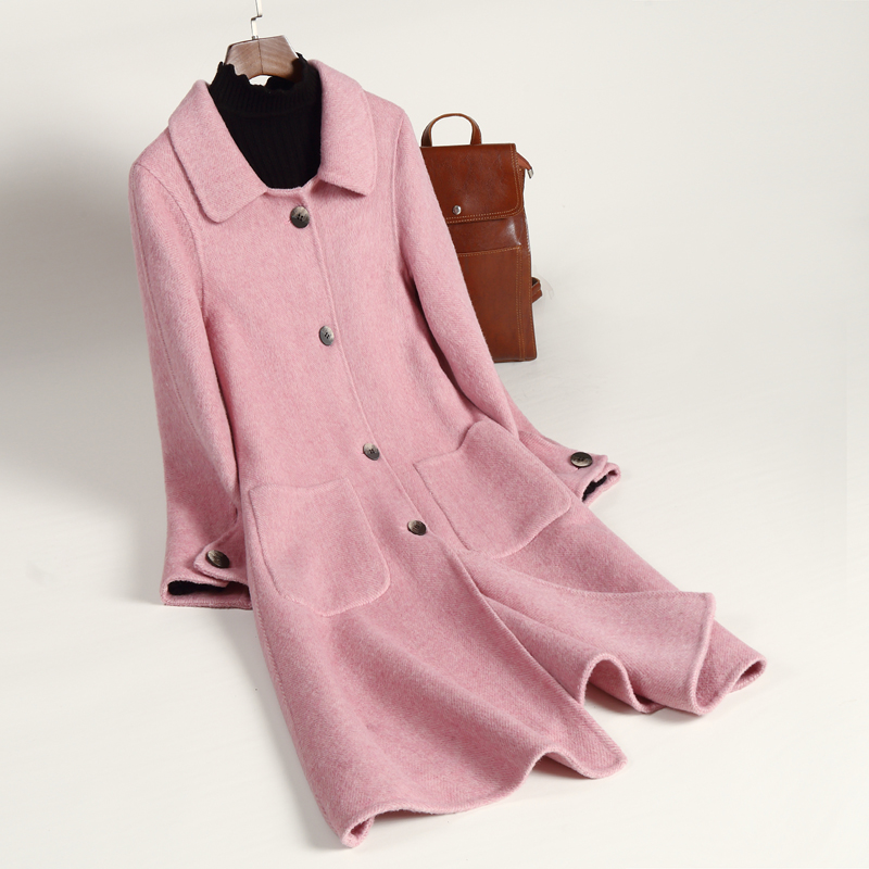 Guyin double faced cashmere coat mid long off season special 2019 new fashion double faced cashmere coat