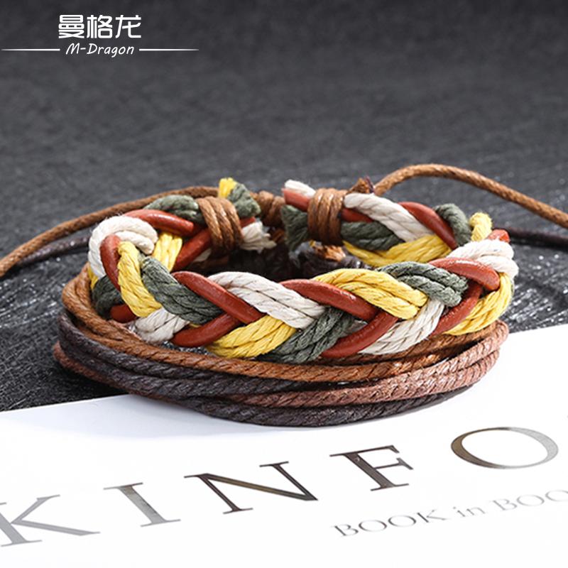 欧美风街头时尚情侣手链男麻绳编织复古手绳学生个性创意手饰品潮