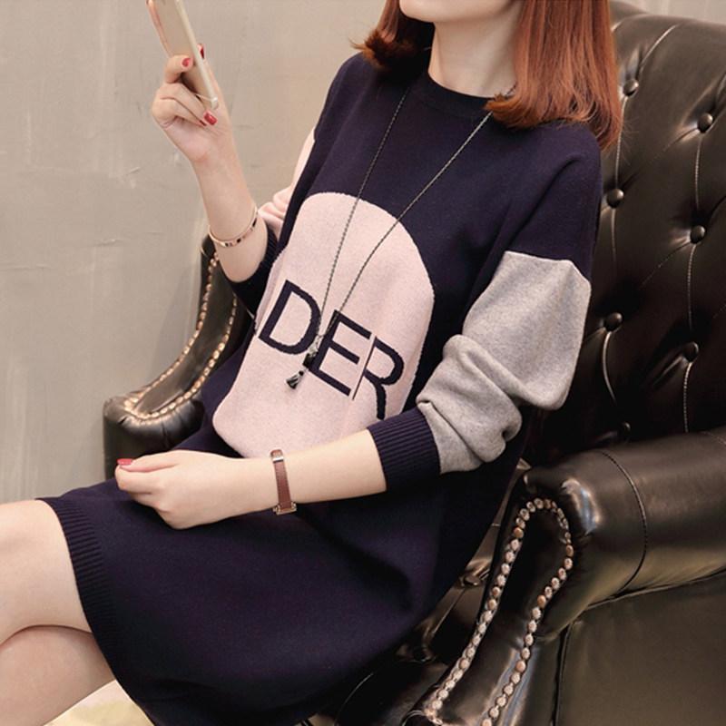 韩版宽松气质字母内搭针织连衣裙女秋冬打底加绒加厚保暖毛衣裙子