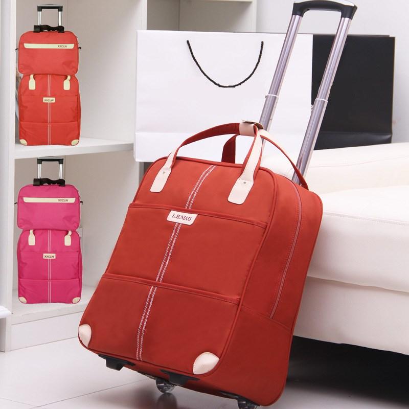 大容量小型潮包韩版旅游纯色衣物短途简约手提迷你旅行女士行李袋