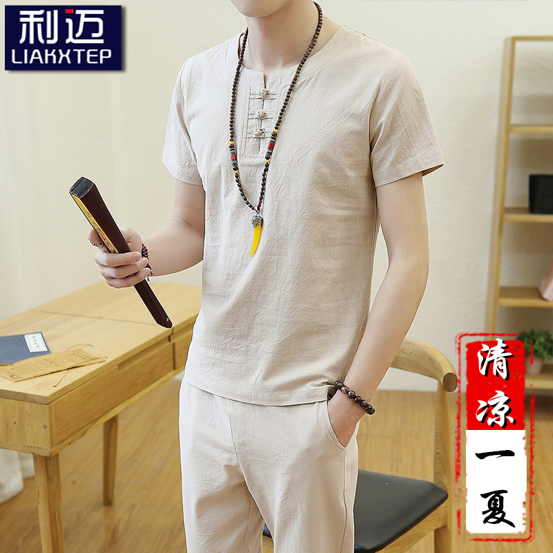 Mens wear 2019 new summer Chinese style linen suit mens short sleeve T-shirt clothes mens cotton and linen trend leisure