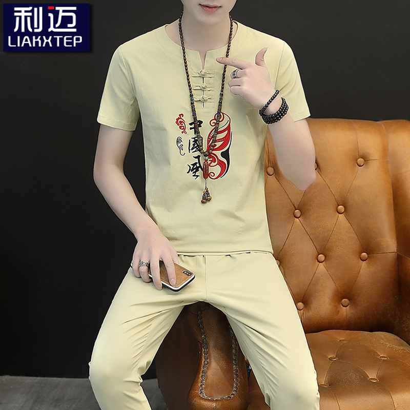 Chinese cotton linen short sleeve t-shirt mens casual suit summer trend linen clothes large mens two piece set t