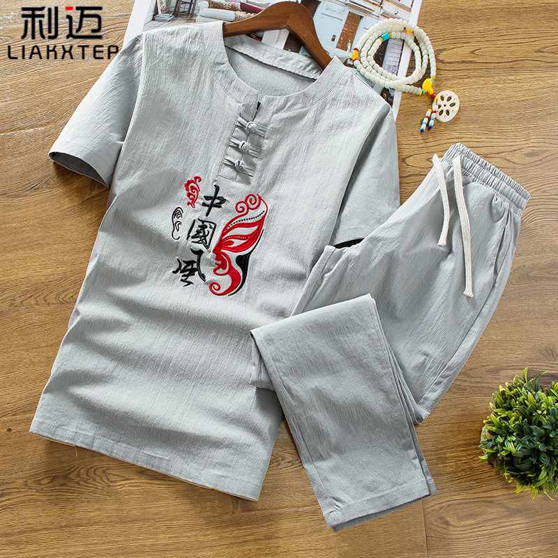 Mens short sleeve T-shirt Chinese style linen suit summer trend casual clothes Summer Cotton hemp two-piece mens T-shirt