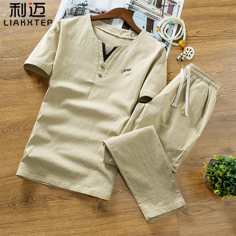 Linen suit mens short sleeve T-shirt Chinese Style Mens summer casual trend mens summer cotton linen half sleeve clothes t