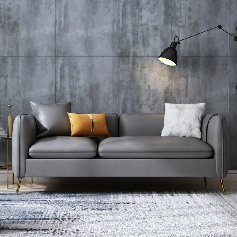 轻奢皮沙发三人位简约现代客厅整装北欧皮艺沙发小户型双人经济型
