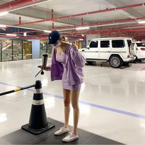 韩国代购东大门紫色卫衣吊带长款吊带背心两件套休闲运动炸街套装