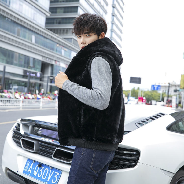 Fall / winter 2020 large mens cotton vest imitation mink hair couple vest solid color Plush vest mj601-p58