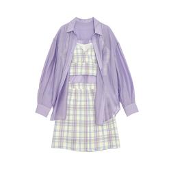 【现货】DP紫色系裙子套装女夏防晒衬衫+吊带+格子半身短裙三件套