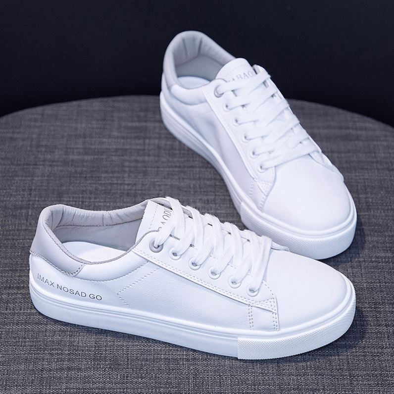 Beige Street womens shoes sports shoes pure white student leather light sports style spring and autumn low top shoes
