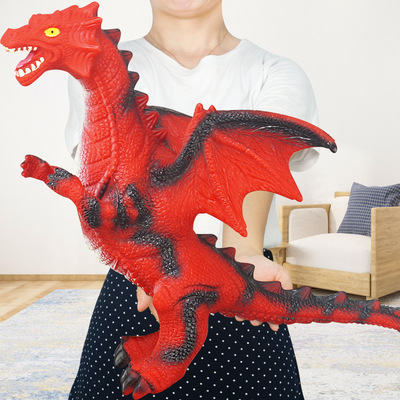 Animal simulation model large soft rubber flying dragon will sound Western magic dragon children's toy