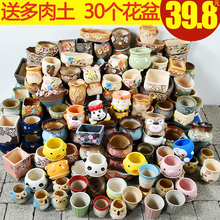 Tangyu potted flowers, fleshy green plants, bonsai indoor household simple potted ceramics, special clearance package