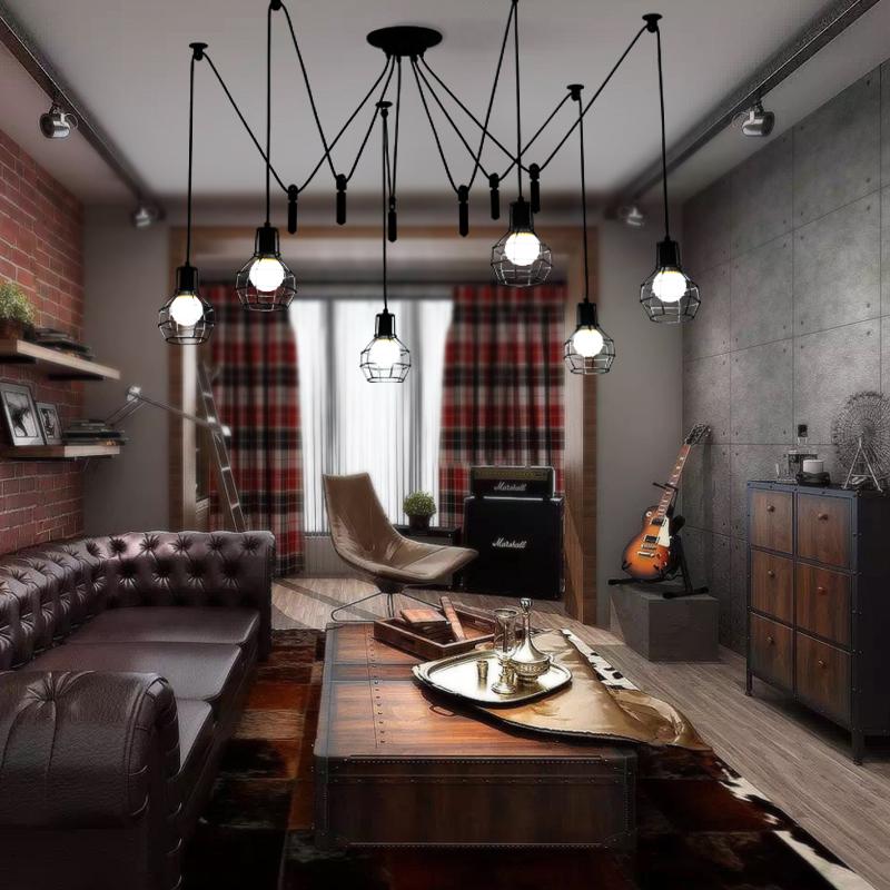アメリカの田舎の天女バラレストランの服屋の創意的な滑車の昇降の復古的な工業風の鉄のかごの吊灯飾
