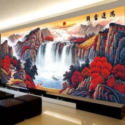 新款十字绣2020鸿运当头客厅满绣大幅2米流水生财山水风景画全绣