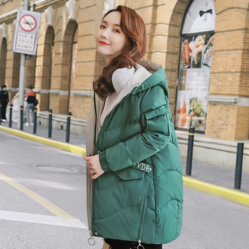 棉服女中长款2019韩版新款宽松加厚羽绒棉衣大码外套冬季棉袄女