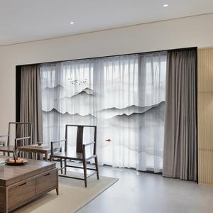 现代新中式窗纱水墨山水画风景窗帘客厅书房卧室名宿薄款隔断纱帘