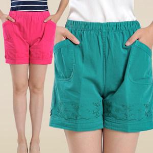 中年女士短裤外穿妈妈夏装大码纯棉弹力高腰中老年宽松休闲五分裤
