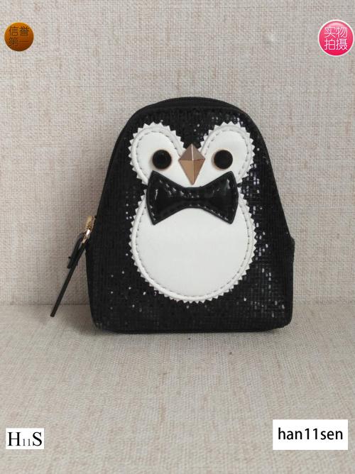 寒森新款可爱迷你女包小企鹅零钱包精致女口红包钥匙小小收纳袋