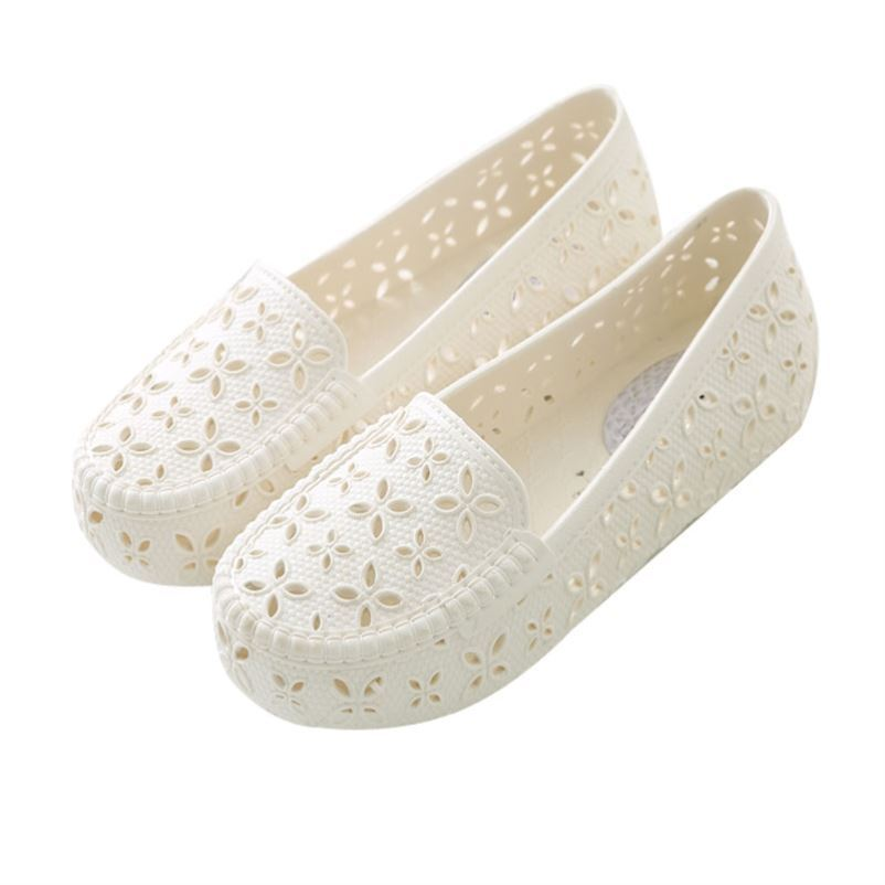 Flat sandals summer pregnant womens breathable hollow sandals plastic womens shallow mouth shoes womens white nurses anti slip holes