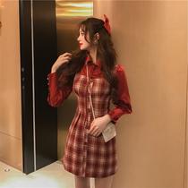 大码春装新款法式小香风长袖格子连衣裙胖MM收腰显瘦拼接衬衫裙子