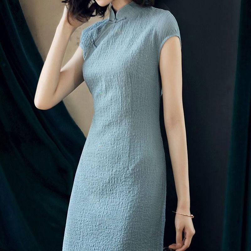 纯色立领改良旗袍女夏季复古中国风2021新款中长款遮肚短袖连衣裙