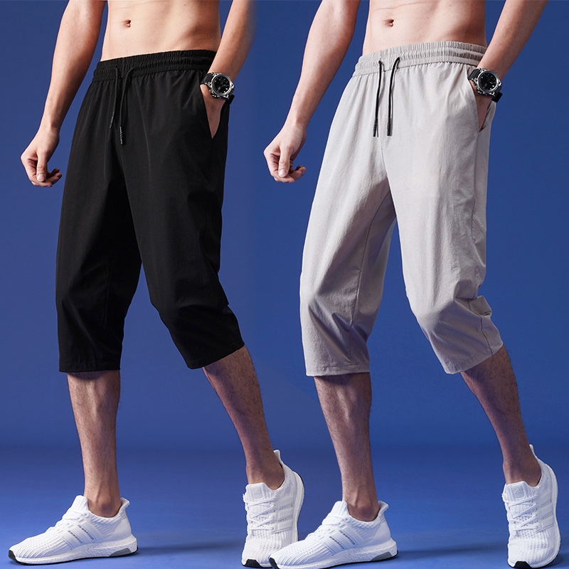Capris summer thin slim pants mens casual 7-point fashion sports loose 8-point ice silk quick drying shorts