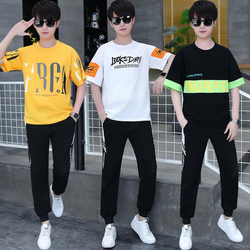 13青少年运动套装男孩12-15岁初中高中学生大童夏装帅气短袖t恤14