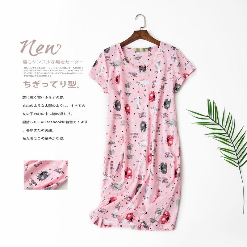 有赠品睡裙夏季薄款纯棉睡衣女夏裙子孕妇大码宽松胖mm可爱短袖家居服