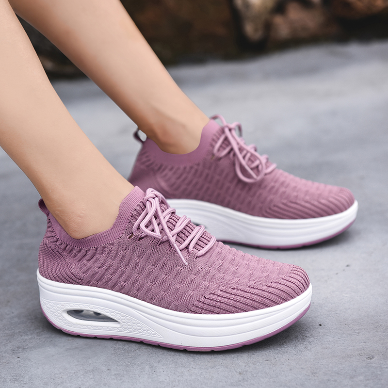Rocking shoes womens mesh breathable sports shoes new soft soled mom leisure air cushion thick soled travel shoes brand in spring and summer