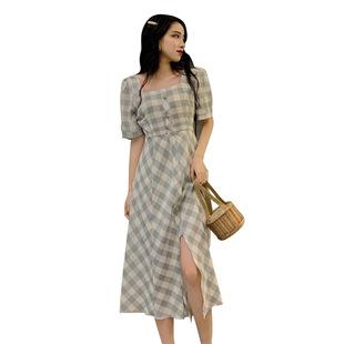 大碼女裝夏季微胖女孩穿搭mm復古法式方領連衣裙收腰顯瘦遮胯長裙