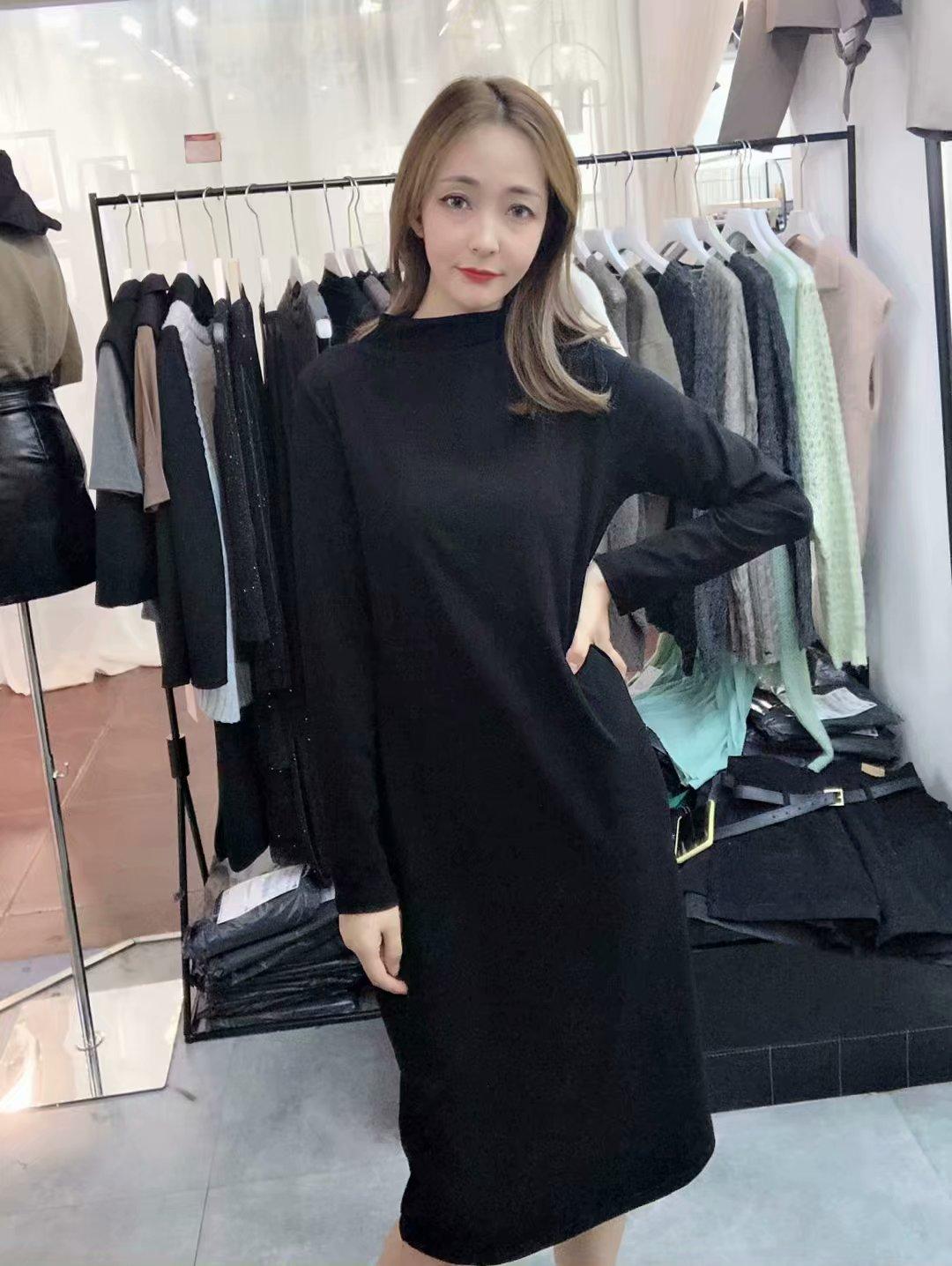 韩国uzzlang纯棉立领连衣裙茧型收腰显瘦气质修身中袖长期纯色潮