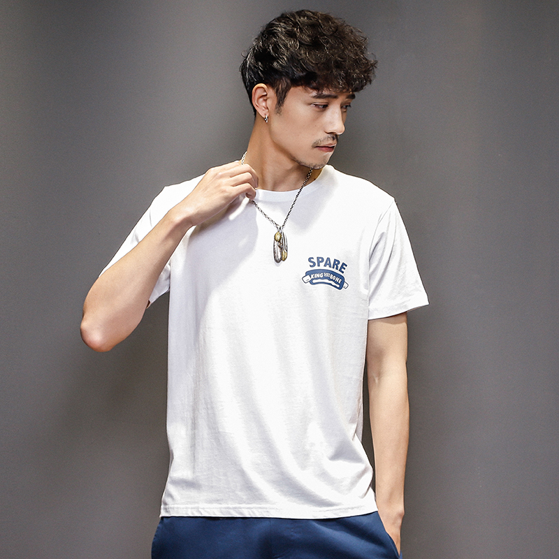 New summer 2018 Japanese youth summer t-shirt mens trend printed short sleeve T-shirt simple casual half sleeve trend