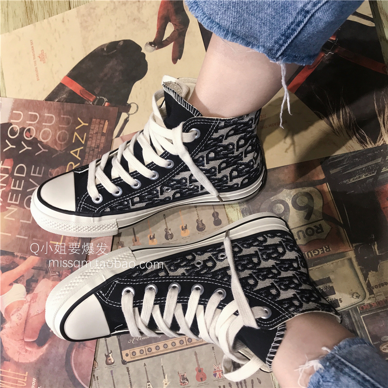 Retro British fashionable old pattern pattern customized high density canvas fabric high top canvas shoes