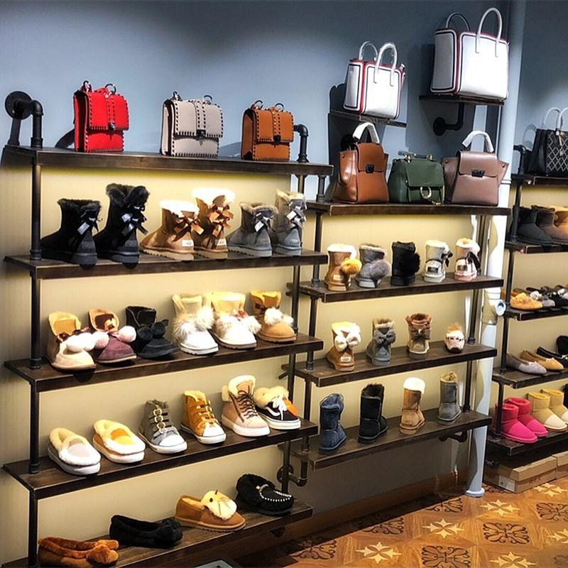 鞋店鞋架展示架落地式店铺展示架包包店货架工业风上墙女鞋展示架图片