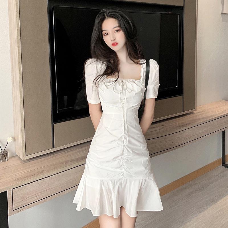 Hot 2021 new dress small woman slim waist white pleated Ruffle fishtail skirt summer