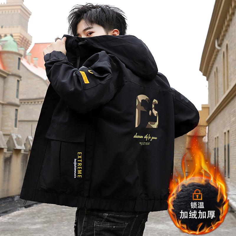 加绒加厚春秋冬季潮牌工装外套男士学生韩版潮流宽松保暖夹克男装