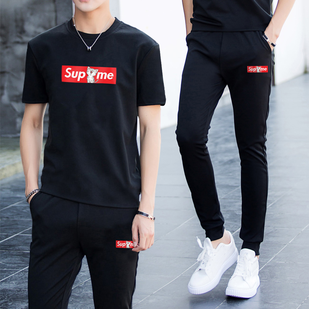 运动套装男士夏季短袖T恤晨跑跑步服潮流两件套运动衣服休闲长裤